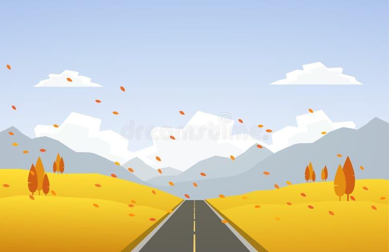 秋天与路的山坡风景和叶子下跌 向量例证