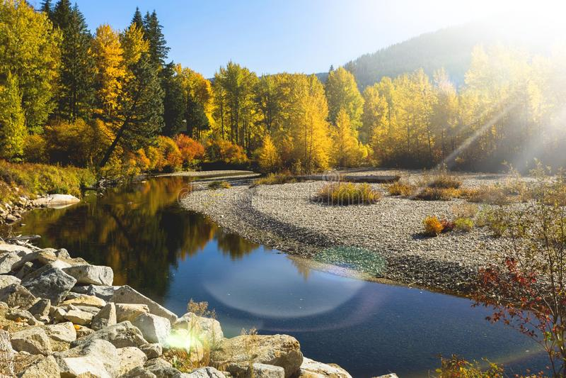 秋天与轻的火光作用的河风景 免版税库存照片