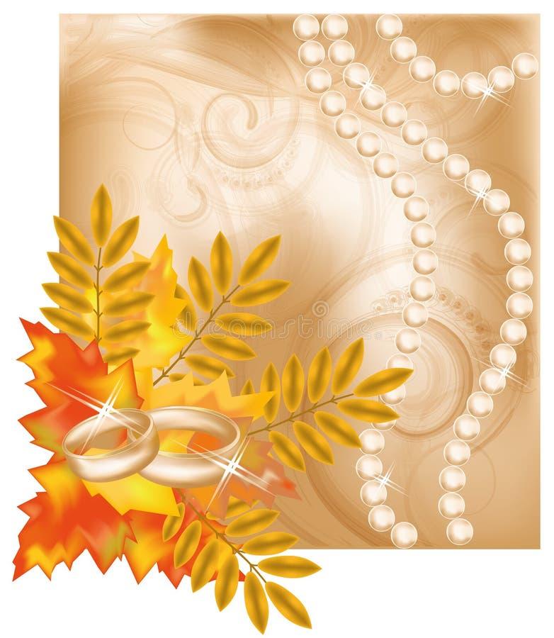 秋天与金黄环形的喜帖 向量例证