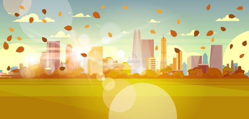 秋天与飞行在摩天大楼大厦都市风景概念的阳光下的叶子的都市风景地平线 皇族释放例证