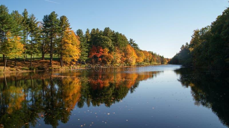 秋天五颜六色的树的美好的场面在河的水中反射了在秋季期间在马萨诸塞 免版税库存图片