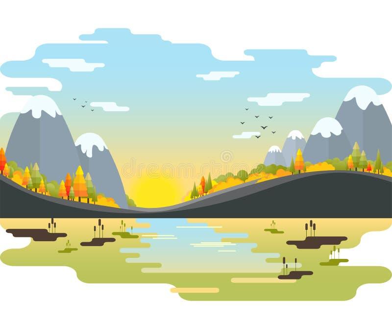 秋天传染媒介风景 与冷杉木的在河沿的山和灌木 图库摄影