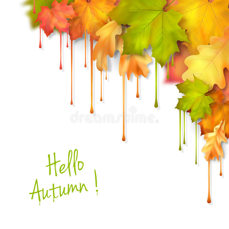秋天传染媒介水滴油漆叶子 库存例证
