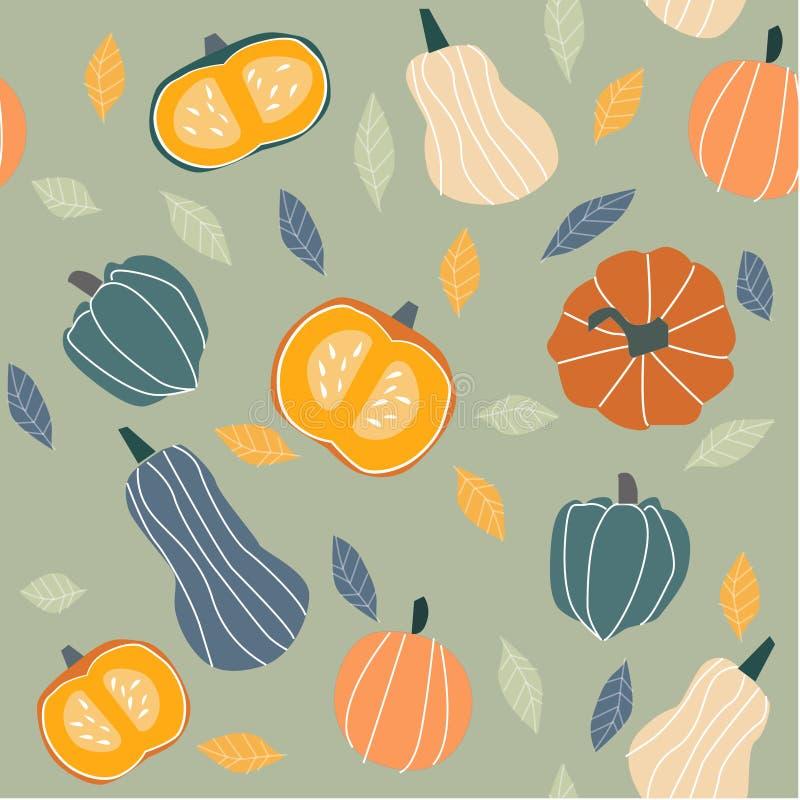 秋天例证-南瓜,叶子 向量例证