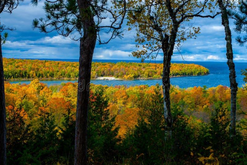 秋天俯视,半岛国家公园 威斯康辛 库存照片