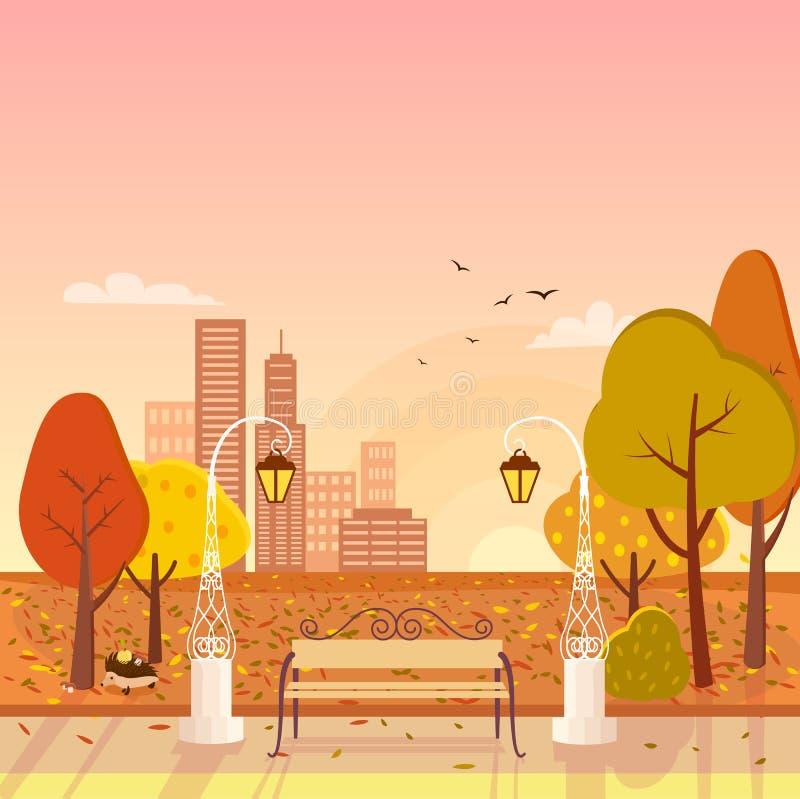 秋天公园和都市风景传染媒介例证 库存例证