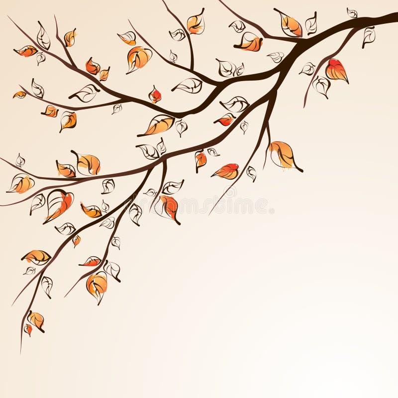 秋天分行结构树 向量例证