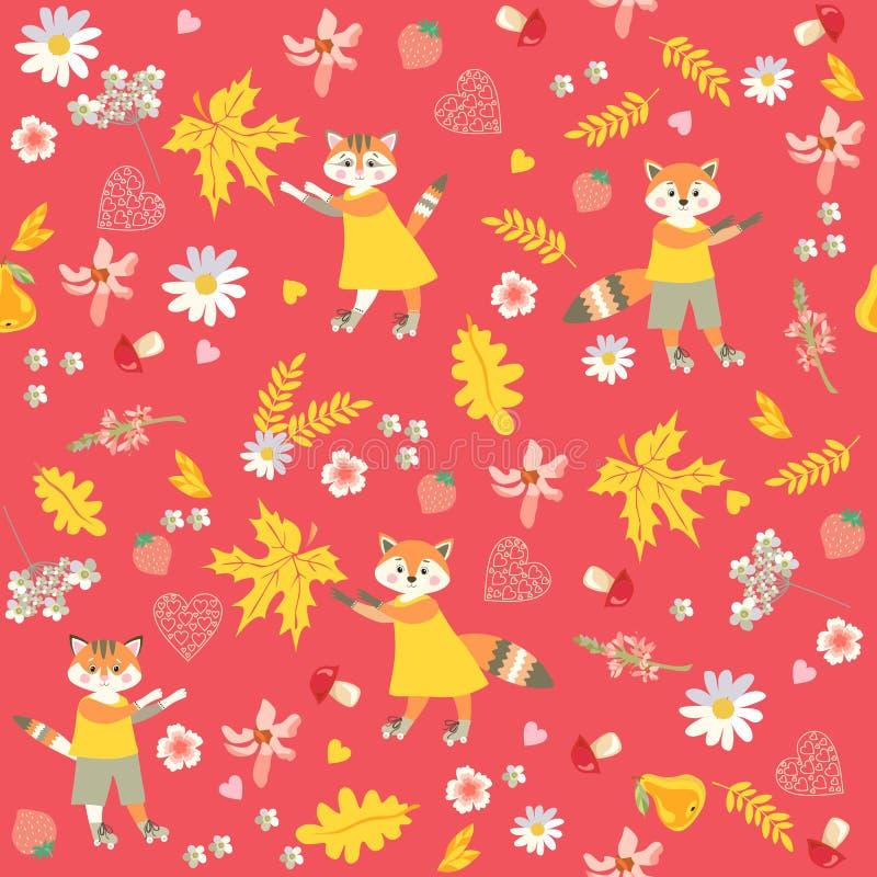 秋天动物无缝的样式 狐狸、猫、花、草莓、蘑菇和叶子在红色背景 向量例证