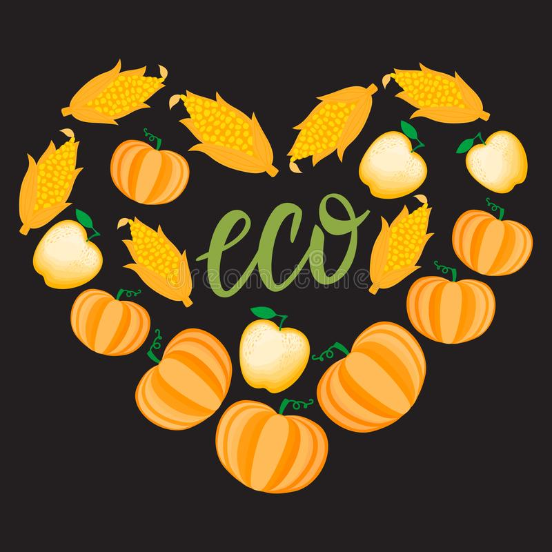 秋天动画片心脏用橙色菜南瓜玉米苹果 在黑暗的背景隔绝的传染媒介ilustration 皇族释放例证