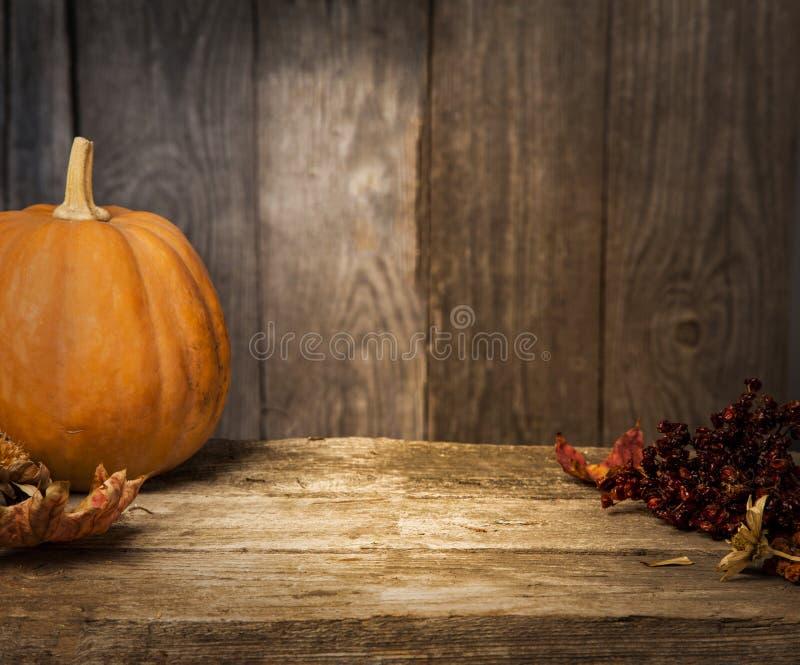 秋天南瓜和其他在一张木桌上 图库摄影