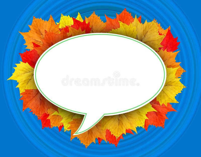 秋天叶子云彩有蓝色背景 库存例证