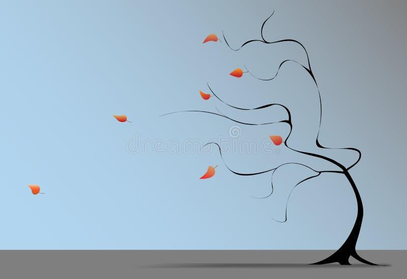 秋天吹动落叶子结构树风 皇族释放例证