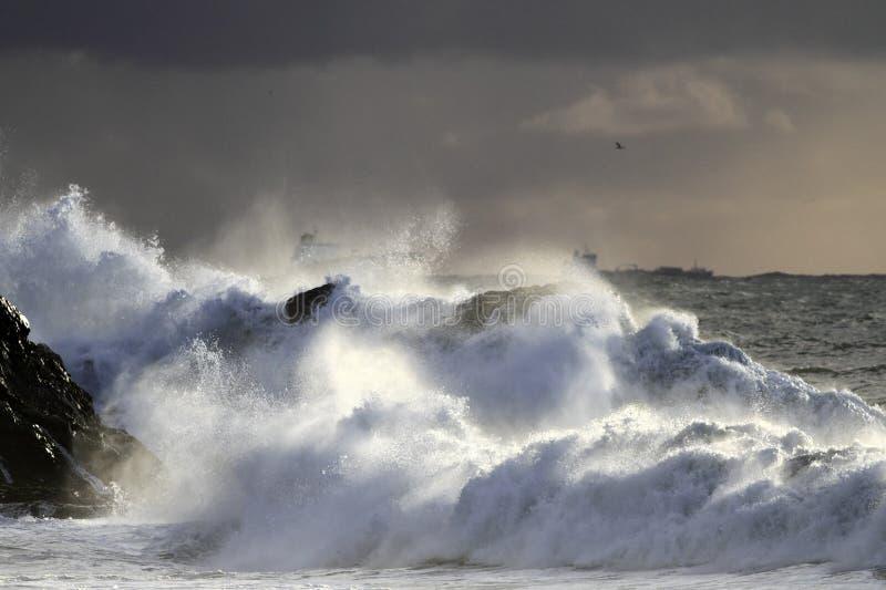 秋天和冬天海风暴 库存照片