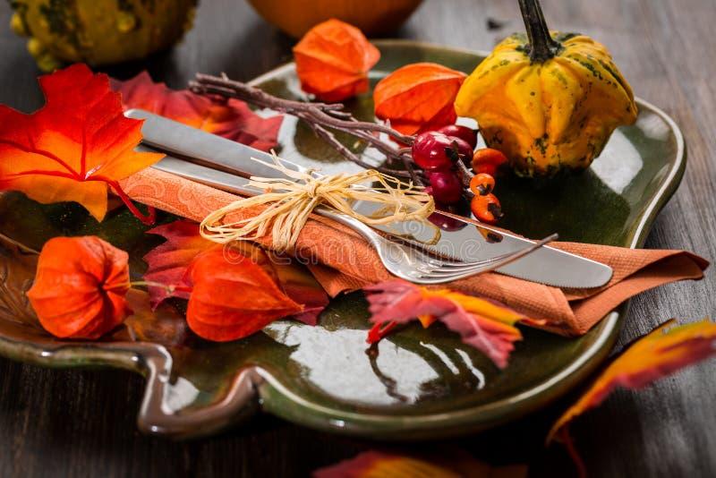 秋天和感恩桌设置 免版税图库摄影