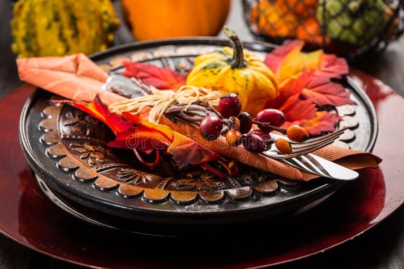 秋天和感恩餐位餐具 免版税图库摄影