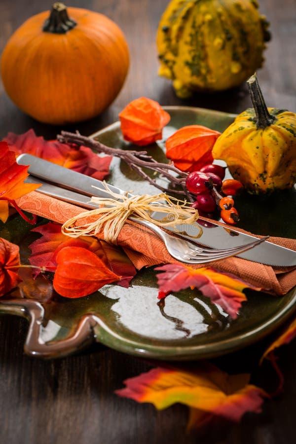 秋天和感恩餐位餐具 免版税库存图片