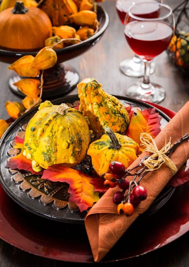 秋天和感恩餐位餐具 库存图片