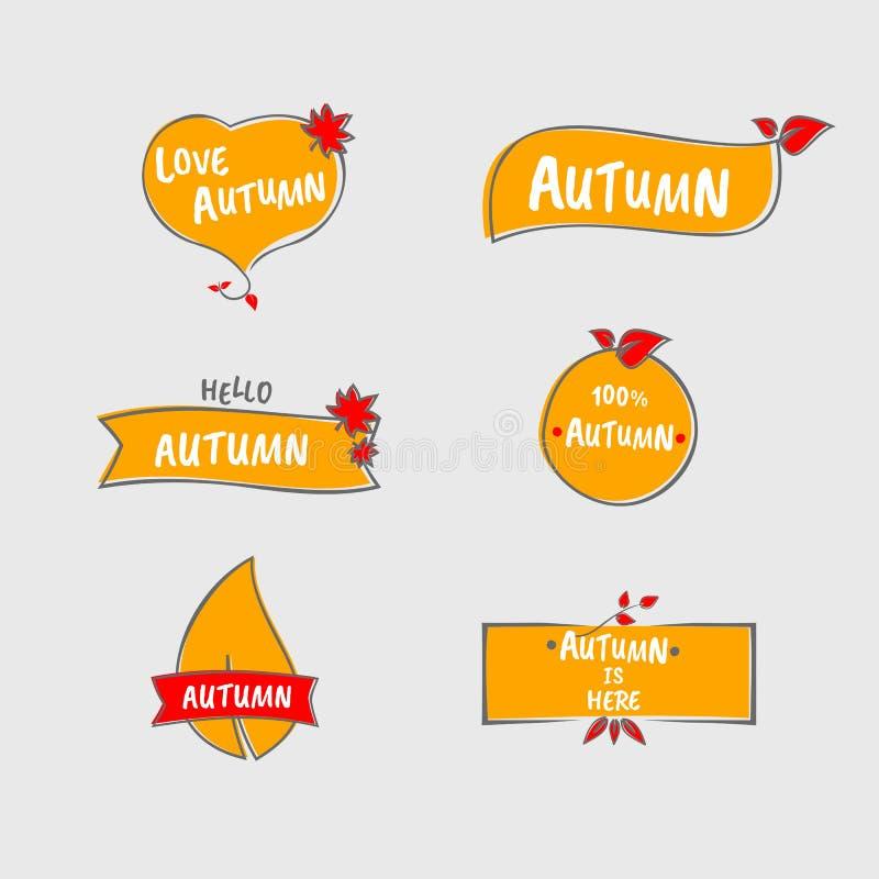 秋天商标组装 秋天装饰品包装 橙色商标 向量例证