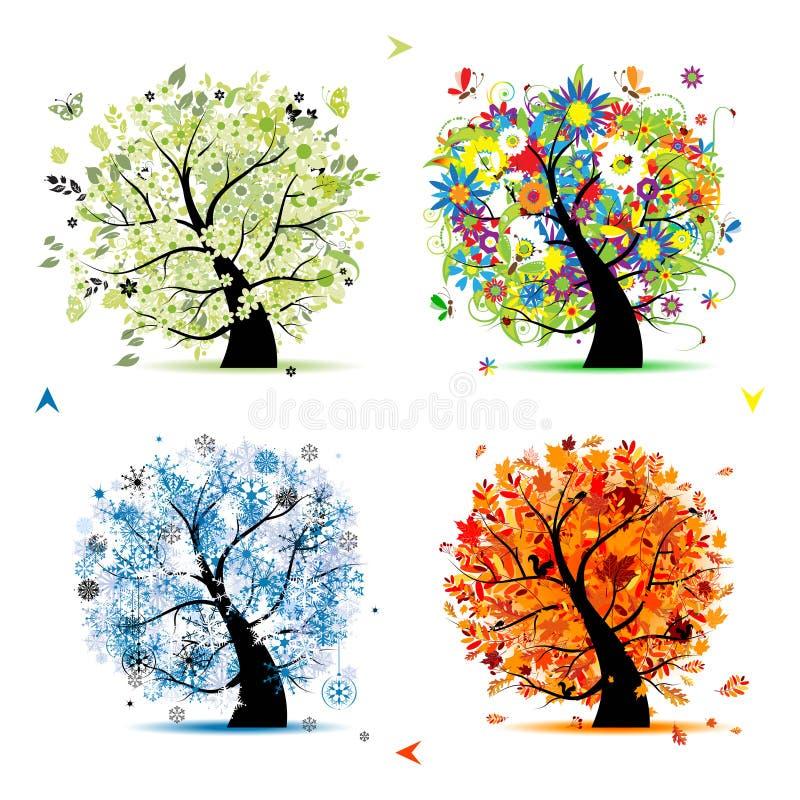 秋天四个季节春天夏天结构树冬天 向量例证