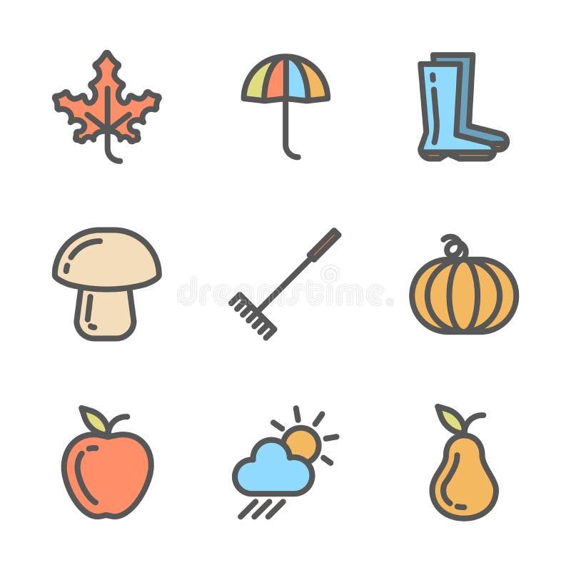 秋天图标设置了 线性色的标志的汇集与秋天的反对 皇族释放例证