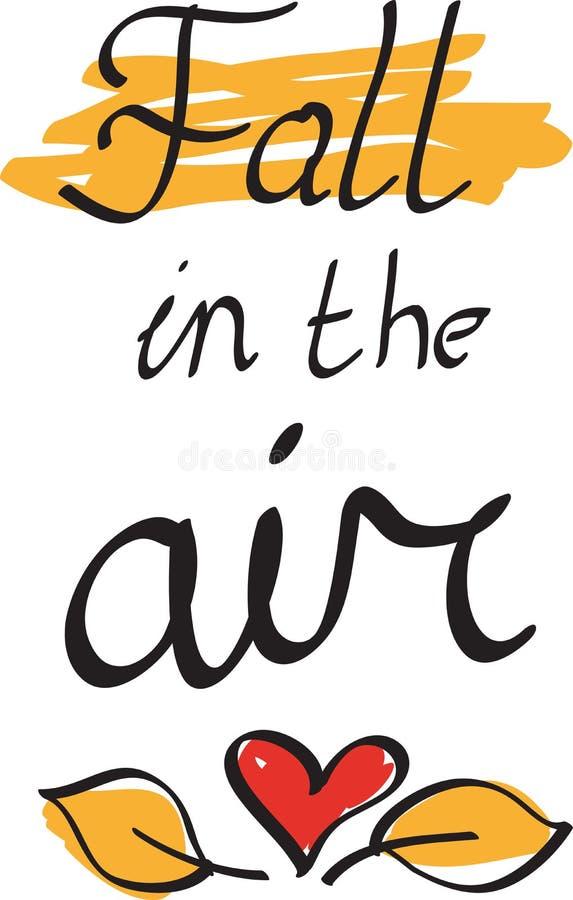 秋天在一张手画的文本海报的天空中与秋叶的 明信片的,印刷品,贴纸传染媒介 皇族释放例证