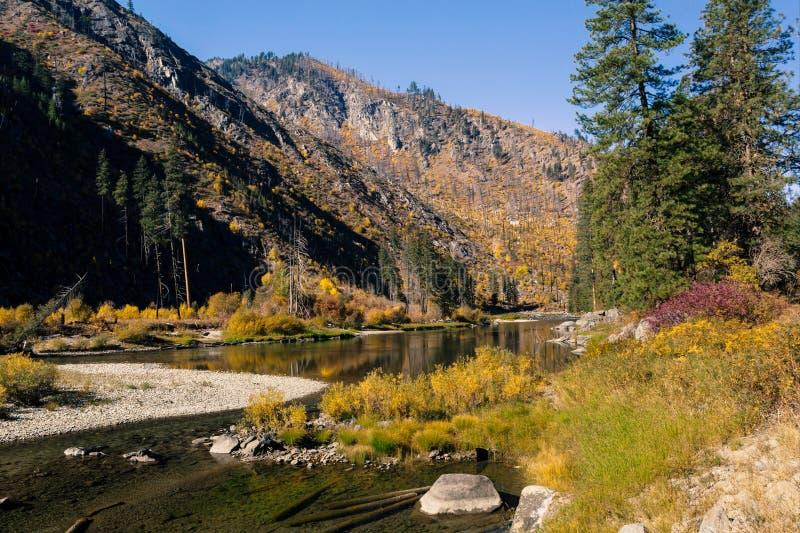 秋天在山的河风景 免版税库存图片