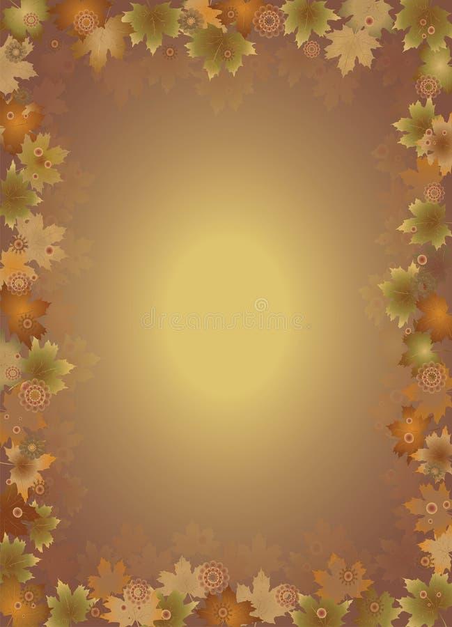 秋天在棕色背景留下边界孤立 皇族释放例证