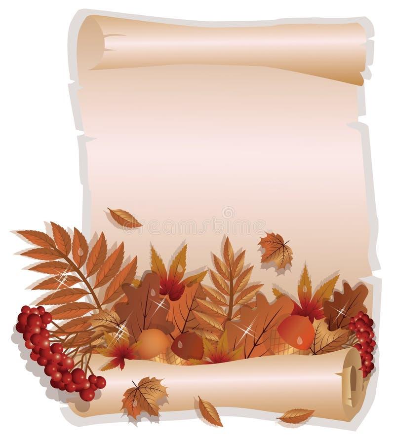 秋天在葡萄酒样式的贺卡 库存例证