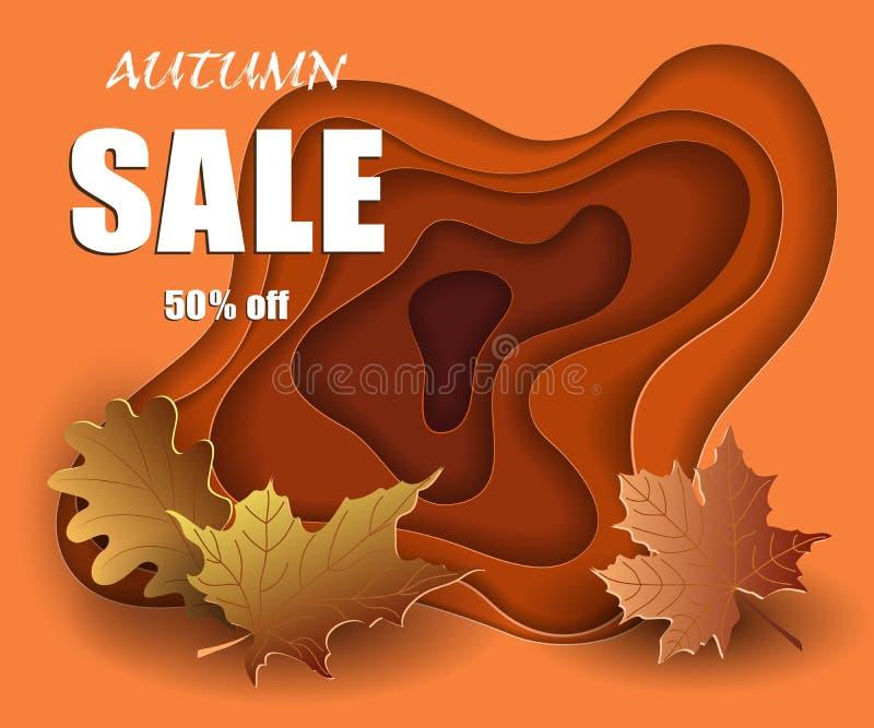 秋天在被削减的纸样式,大模型设计的销售横幅在橙色3d背景,传染媒介打折了季节,五颜六色的黄色离开 向量例证