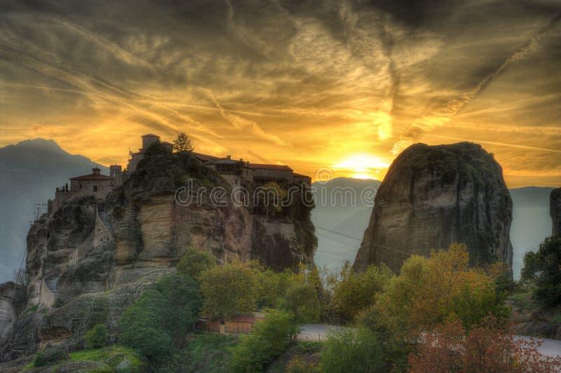 秋天在迈泰奥拉,希腊-修道院圣巴拉姆 免版税库存图片