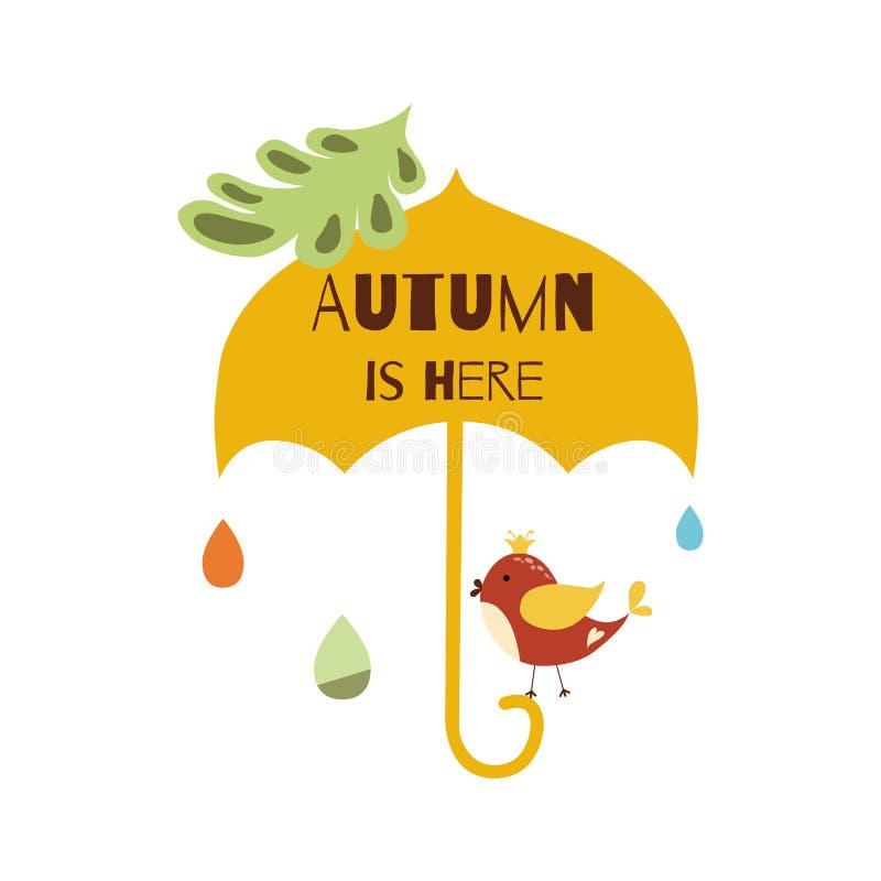 秋天在这里手拉的印刷元素伞鸟下落下跌留下传染媒介印刷品的雨 向量例证