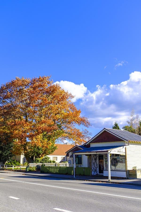 秋天在镇里 库存图片