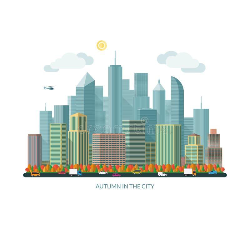 秋天城市概念 都市的横向 也corel凹道例证向量 皇族释放例证