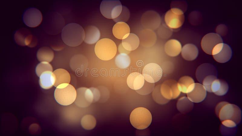 秋天夜的金黄bokeh作用 温暖的被弄脏的sparcles背景影响 皇族释放例证