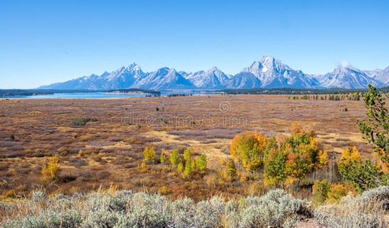 秋天大草原和Tetons 图库摄影