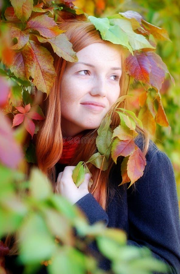 秋天女孩头发的纵向红色 库存照片