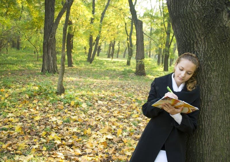 秋天女孩青少年公园的诗歌写道 图库摄影