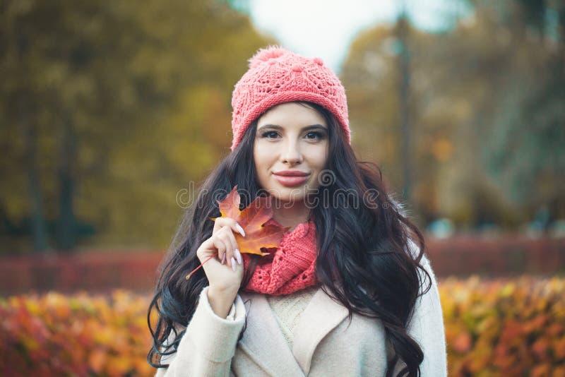 秋天妇女画象 有秋天枫叶的时装模特儿女孩 库存图片