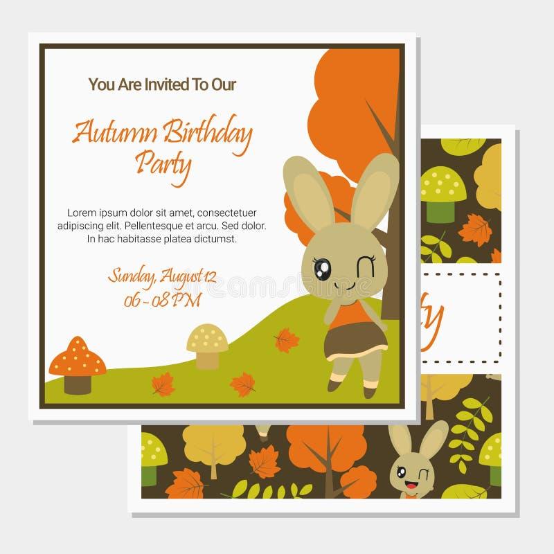 秋天季节传染媒介动画片例证的逗人喜爱的兔宝宝女孩生日贺卡设计的 库存照片