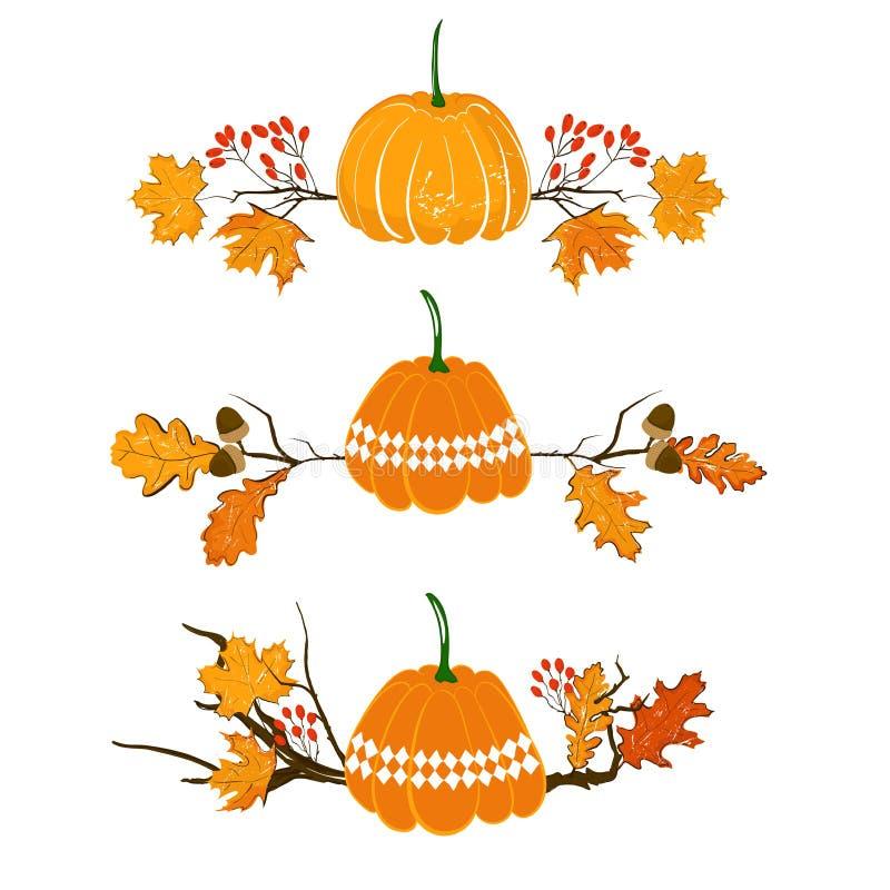 秋天季节元素用南瓜、槭树和橡木叶子、橡子和红色莓果,干燥分支 秋天装饰元素为 向量例证