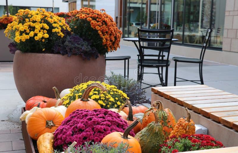 秋天季节室外装饰背景 背景袋子概念行程购物的白人妇女 免版税库存图片