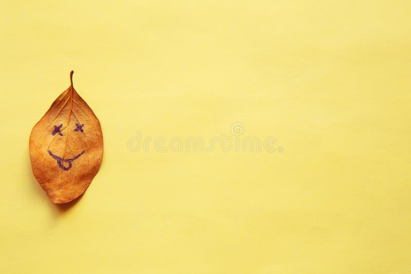 秋天对此有面带笑容的下落的叶子画的 图库摄影