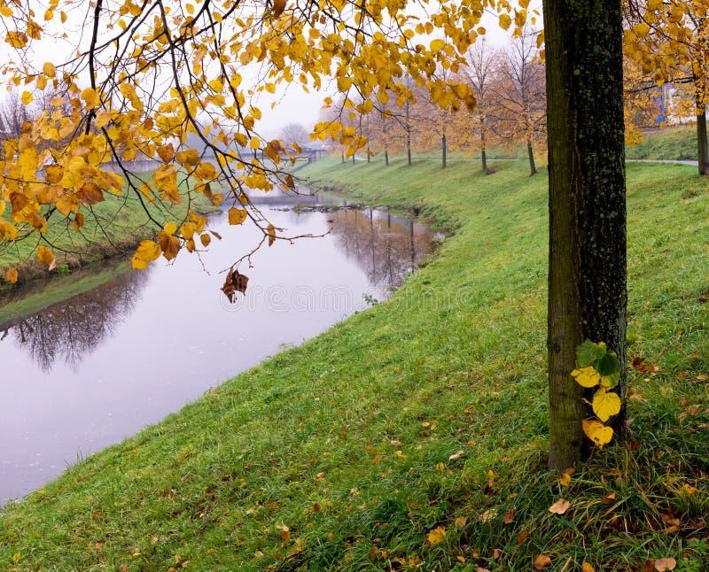 秋天或福尔里弗在城市或镇里 库存照片
