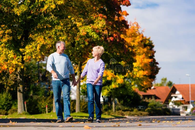 秋天或秋天的手拉手走的前辈 免版税库存照片