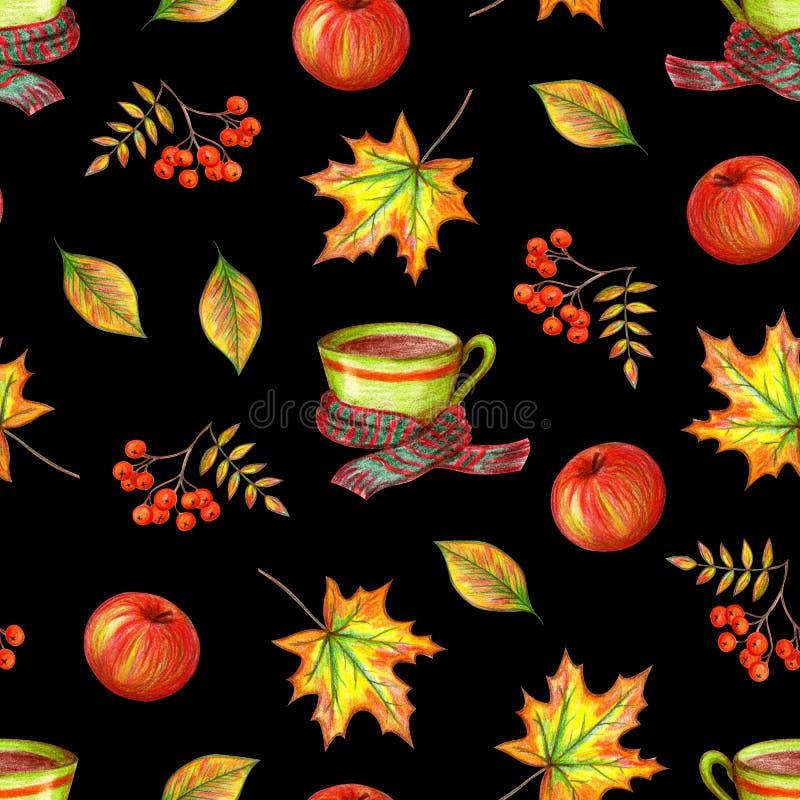 秋天手图画 向量例证