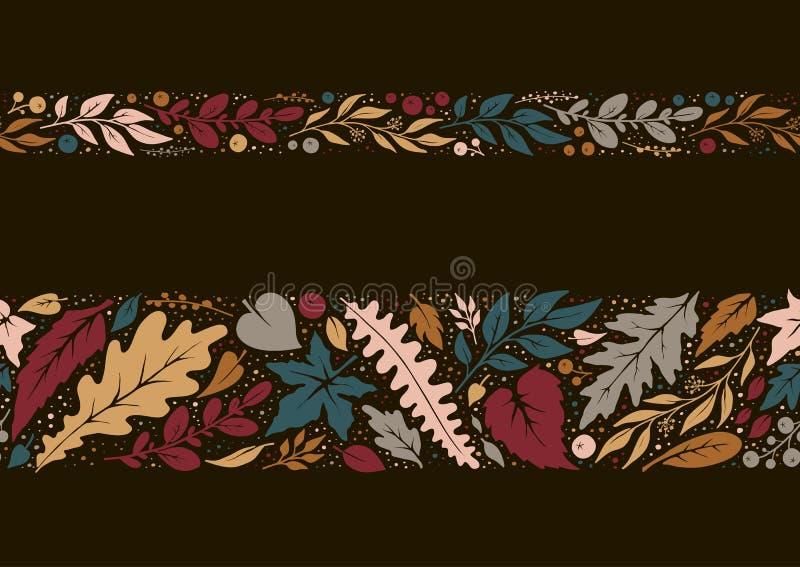 秋天手拉的无缝的边界 库存例证
