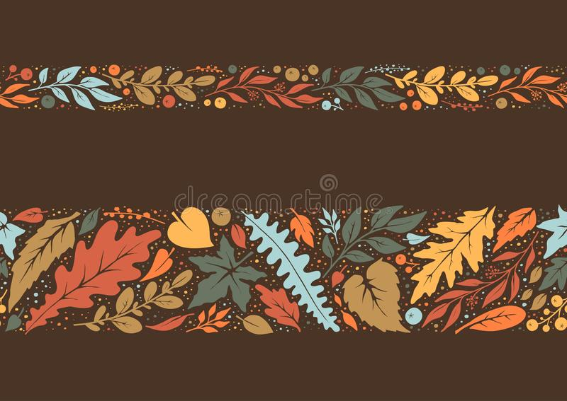 秋天手画无缝的边界 库存例证