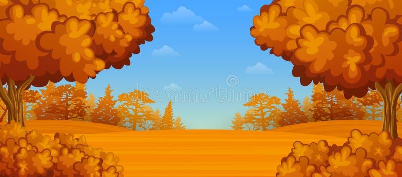 秋天报道的划分为的森林地面横向留下黄色 皇族释放例证