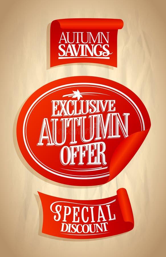 秋天提议被设置的销售贴纸 库存例证