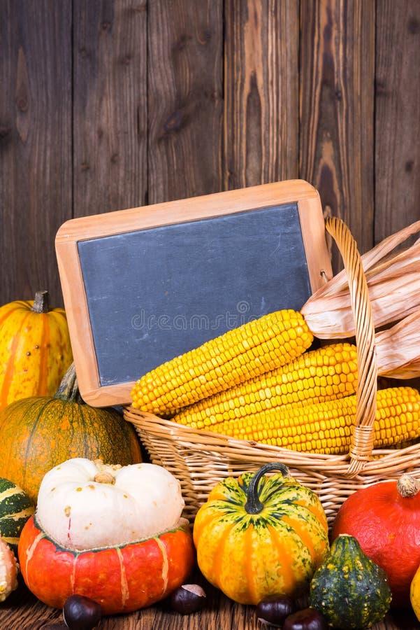 秋天收获节日动机用在一个篮子前面的各种各样的南瓜与在土气木背景的玉米棒子 库存图片